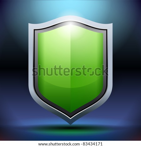 Modern green shield offering protection with illuminated background - stock vector
