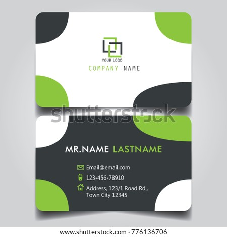 modern green white black theme of creative business card and name card with horizontal curve corner
