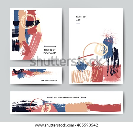Modern grunge brush postcard template, art vector cards design in bright colors - stock vector