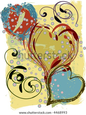 Modern, grunge style, valentine background design. - stock vector