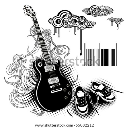 modern guitar and shoes - stock vector
