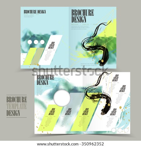modern halffold brochure template design attractive stock vector