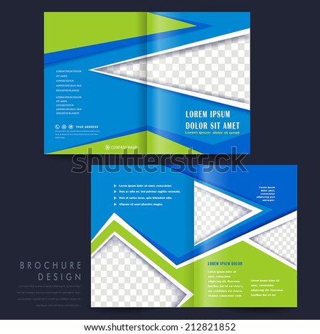 modern half-fold template for advertising concept brochure in blue and green - stock vector