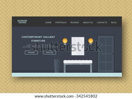 Modern hallway interior with comfort furniture:  banquette, mirror, door. Flat design. Horizontal banner on wooden pattern background. Vector illustration design elements for your advertising - stock vector