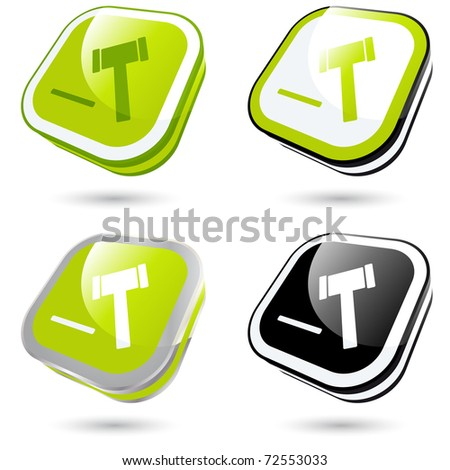 modern hammer sign collection in 3D - stock vector