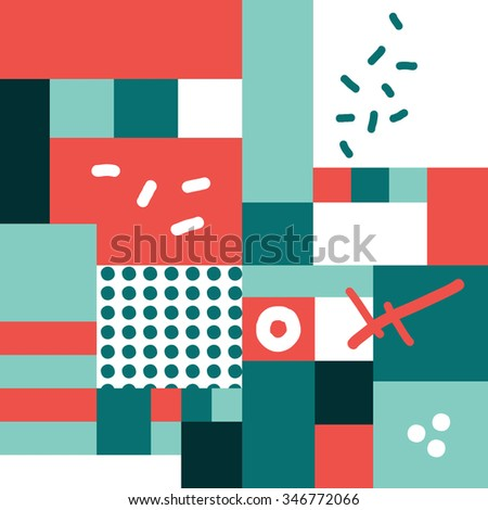 Modern hand draw colorful abstract seamless pattern with geometrical shapes Vector illustration.