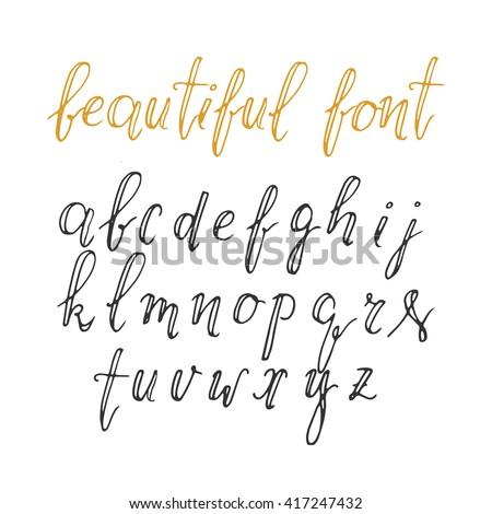 Modern Hand Drawn Calligraphic Font Vector Illustration