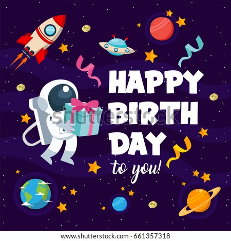 Modern Happy Birthday Card Illustration Children 스톡 벡터
