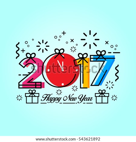Modern Happy New Year 2017 Celebration Card, Suitable for Invitation, Web Banner, Social Media, and New Year Related Occasion