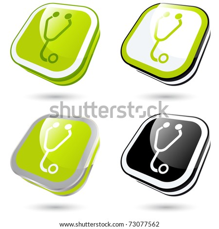 modern health sign collection in 3D - stock vector