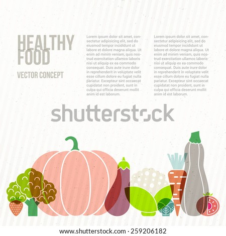 Modern healthy food concept with flat illustrations of vegetables and fruits and place for your text. Vector diet or organic farm template.  - stock vector