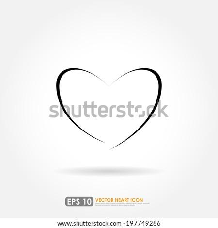 Modern heart shape outline - vector icon - stock vector