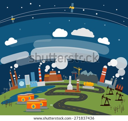 Modern heavy industry illustration  - stock vector