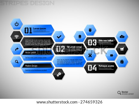 Modern heaxon layout. Vector user interface with black and blue design elements. - stock vector