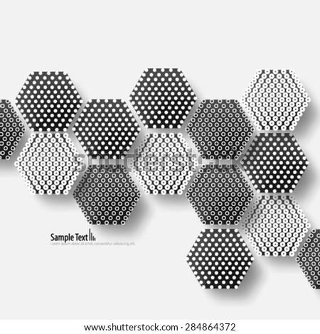 Modern Hexagon Uneven Spacing Design Background - stock vector