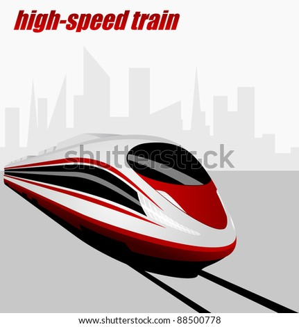 Modern high speed train - stock vector