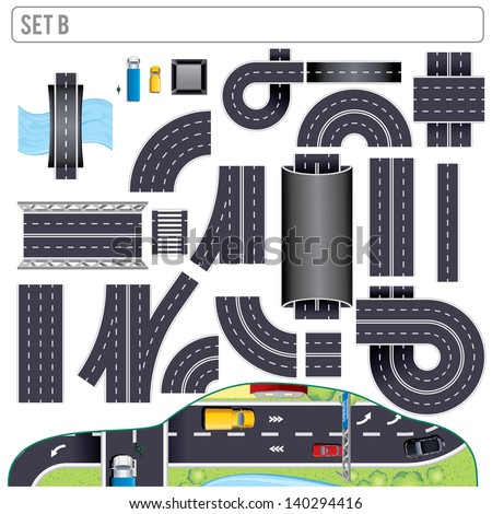 Modern Highway Map Toolkit. Create Your own Road Map. Pack Include: Road Elements, Bridge, Road Markers and Various Vehicles. Top View Position. Vector Clip Art