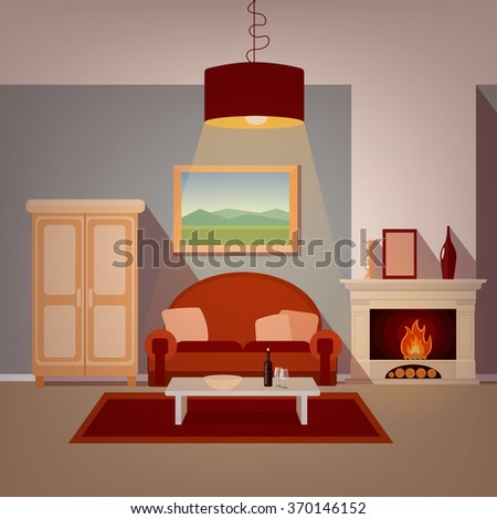Modern Home Interior of Living Room with Fireplace. Home Sweet Home. Vector illustration