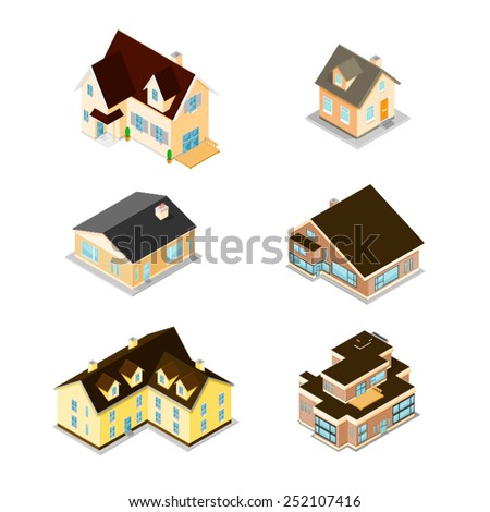 Modern Homes and houses - From small to large. Isometric Homes. Modern homes and houses. - stock vector