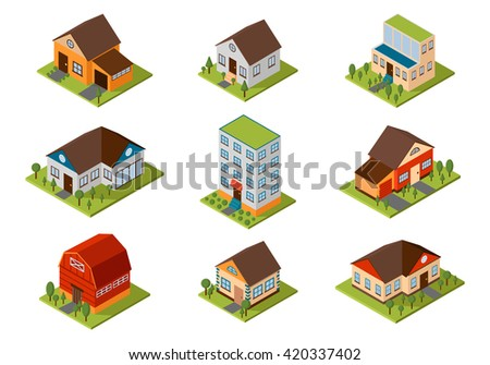 Modern homes and isometric house small to large. Isometric homes architecture real estate. Modern homes and isometric cottage houses. Isometric house property residential isolated building. - stock vector