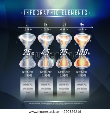 modern hourglass infographic elements template over hi tech background  - stock vector
