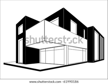 Modern House 3d Drawing Vector Isolated Stock Vector