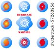 Modern hurricane icon, sign set isolated on white vector - stock photo