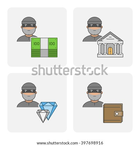 Modern icon bank theft. Vector symbol of stealing money. Linear icon stolen purse. Flat character stealing jewelry. - stock vector