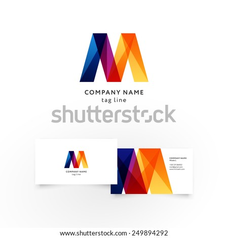 Modern icon design M shape element with business card template. Best for identity and logotypes.  - stock vector