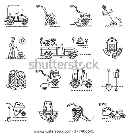 Modern Icons Agriculture Agricultural Machinery Garden ...