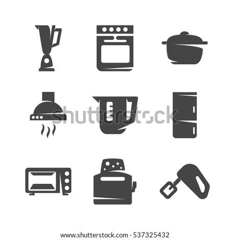 Modern Icons Set Silhouettes Kitchen Appliances Stock Vector (2018 ...