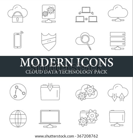 Modern icons thin line style. Cloud data technology pack - stock vector