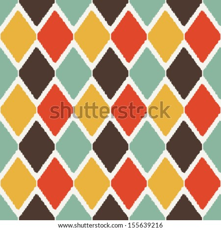 Modern ikat tribal fashion seamless pattern in retro colors - stock vector