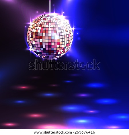Modern illuminating disco ball sphere with spotlights disco background vector illustration