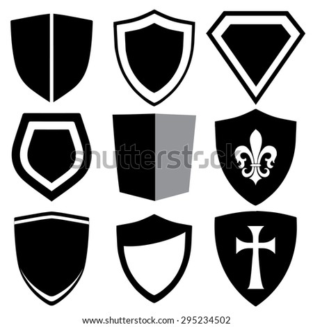 Modern illustrated shield collection - stock vector