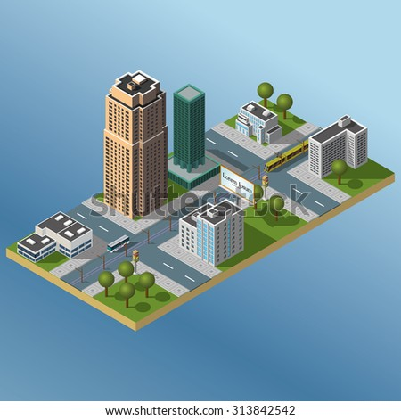 Modern illustration of an Isometric Buildings set in downtown. Isometric city. 3d buildings icon. - stock vector