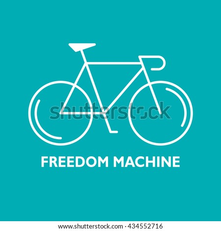 Modern Illustration of linear bicycle. White outline bike and text Freedom Machine isolated on a green background. For use as design element, poster, logo. Cycle made in trendy thin line style vector. - stock vector