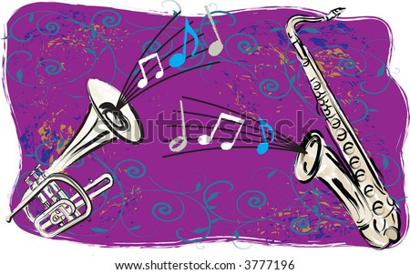 Modern impression art of jazz horn band with trumpet & saxophone -- vector illustration. - stock vector