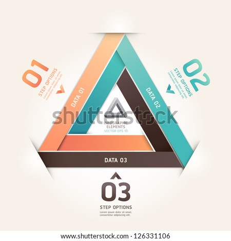Modern infinite triangle origami style number options banner. Vector illustration. can be used for workflow layout, diagram, step options, web design, infographics. - stock vector