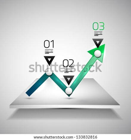 Modern infographic design template - arrow graph - stock vector