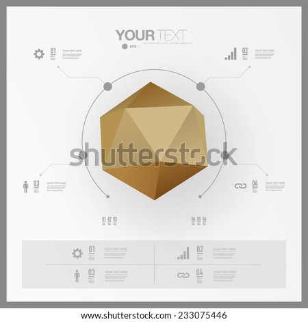 Modern infographic design with abstract golden 3D origami shape can be used for workflow layout, chart, number options, presentation, web design.  Eps 10 stock vector illustration  - stock vector