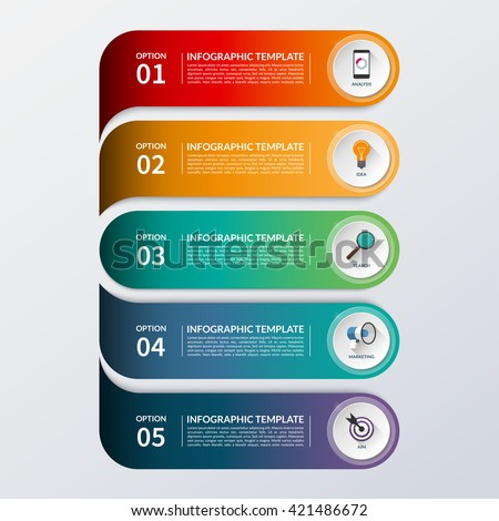 Modern infographic options banner. Business concept with 5 steps, options, parts. Vector background. Can be used for workflow layout, brochure, diagram, chart, number and step up options, web design - stock vector