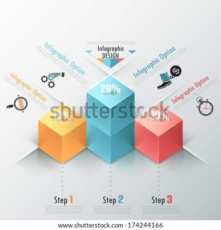 Modern infographic options banner with realistic colorful parallelepipeds (box). Vector. Can be used for web design and  workflow layout