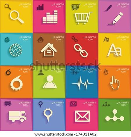 Modern  infographic  or webdesign symbols, mobile shopping communication and delivery service. Flat design. - stock vector