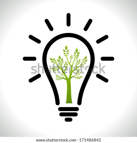 Modern infographic template. Light bulb with Green tree icon inside. Business Eco ��¡oncept Idea - stock vector
