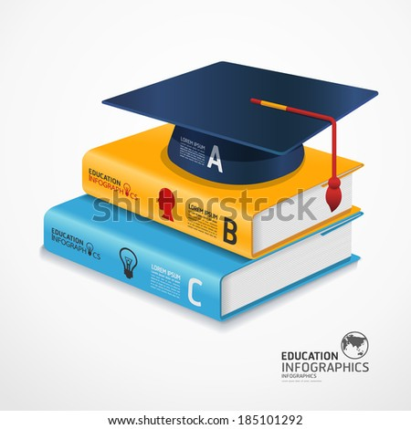 modern infographic Template with book and Graduation cap banner / can be used for infographics / banners / concept vector illustration - stock vector
