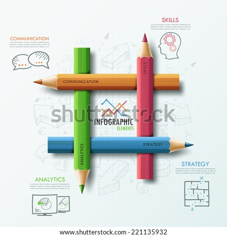 Modern infographic template with 4 colorful pencils and hand drawn sketches on paper background.  Vector. Can be used for web design and  workflow layout - stock vector