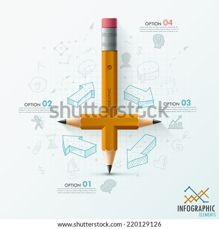 Modern infographic template with unusual pencil and hand drawn sketches on paper background.  Vector. Can be used for web design and  workflow layout - stock vector
