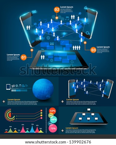 Modern infographics business technology communication, Creative virtual networking information process diagram mobile phones and tablet computer pc connection, Vector illustration template design work - stock vector
