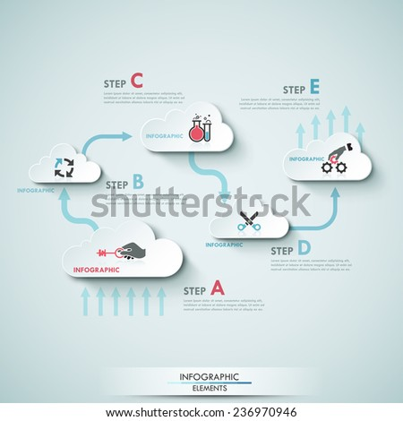 Modern infographics cloud process template for 5 steps with icons. Vector. Can be used for workflow layout, banner, diagram, web design, infographic template. - stock vector